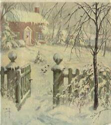 Vintage Christmas Victorian Colonial Brick House Wooden Gate Snow Storm Art Card