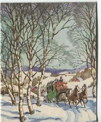 Vintage Christmas Horse Carriage Village Landscape Birch Tree Snow Greeting Card