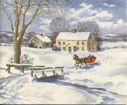 Vintage Christmas Yellow Country Farm Colonial House Horse Sleigh Greeting Card