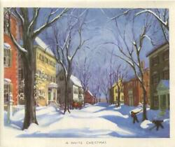 Vintage Christmas Colonial Houses Street Children Shoveling Snow Greeting Card