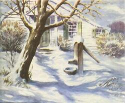 Vintage Christmas Snow White House Water Pump Well Bare Trees Greeting Art Card
