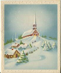 Vintage Christmas Blue Village Valley Church Hill Snow Flakes Snow Greeting Card