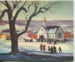 Vintage Christmas Church Maple Tree Snow Village Card And1 Ocean Cat Cook Postcard