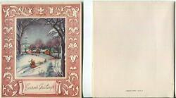 Vintage Christmas Victorian House Village Couple Stroll Snow Night Greeting Card