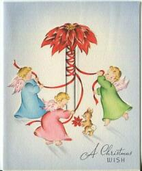Vintage Christmas Blonde Angel Girls Pink Wings Poinsettia May Pole Bunny Card