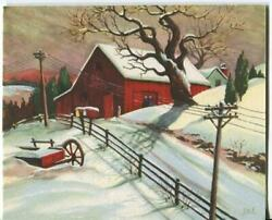 Vintage Christmas Old Red Farm Barn Telephone Poles Wires Snow Art Greeting Card