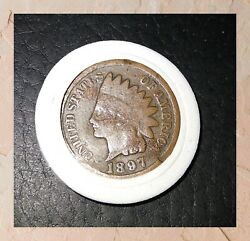 1897 Indian Head Penny, Variety 3, Bronze 1864-1909