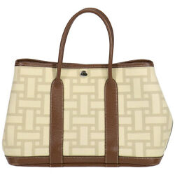Hermes Garden Party Tpm Tote Bag Toile Ash Natural Brown Leather Ladies Auth