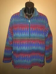 Vtg 90s Fleece Pullover L F96 Aztec Tribal Synchilla Laughing Waters