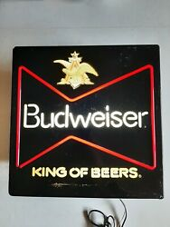 Vintage Budweiser Beer Lighted Sign 80s King Of Beers Faux Neon