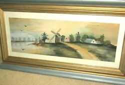 Very Nice Vintage Watercolor Painting Houses On Water With Windmill-look