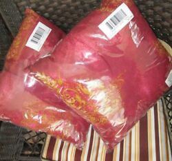 Nwt Set Of 2 Silk Road Square Toss Pillows Burgundy Gold Moroccan Decorative