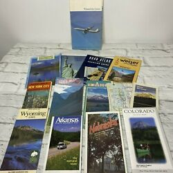 Lot Of 14 Vintage Maps States New York City United Airlines Air Atlas