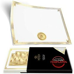 Professional Award Certificate Paper 8.5 X 11 With Seals, Gold Foil Border - 100