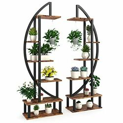 6 Tier Tall Metal Indoor Plant Stand In Pairs Black Plant Shelf Holder For Outd