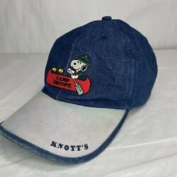 Vintage '90s Knotts Camp Snoopy Hat Denim Canoe Woodstock Peanuts Made In Taiwan