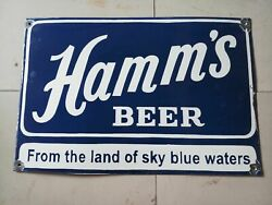 Porcelain Hamms Enamel Sign Size 24 X 16 Inches Pre-owned