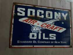 Porcelain Socony Aircraft Enamel Sign Size 20 X 30 Inches