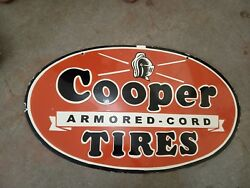 Porcelain Cooper Tires Sign Size 18 X 30 Inches Double Sided Pre-owned