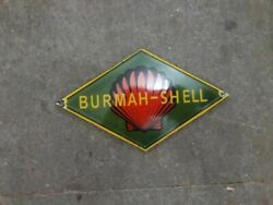 Porcelain Burmah Shell Enamel Sign Size 10 X 6 Inches Pre-owned