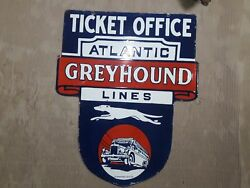 Porcelain Ticket Office Atlantic Greyhound Sign Size 25 X 29. Pre-owned