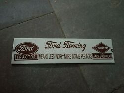 Porcelain Ford Farming Enamel Sign Size 12 X 3 Inches