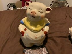 Vintage 1940's Smiley Pig Cookie Jar-yellow Scarf Shawnee Pottery - Made In Usa