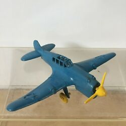 Vintage Ideal P-40 Warhawk Blue Yellow Plastic Toy Military Fighter Airplane Usa