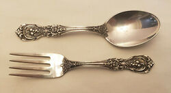 Reed And Barton Francis I Sterling Silver 2 Piece Baby Fork And Spoon Set Mono