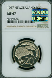 1967 New Zealand 20 Cents Ngc Ms-67 Pq Mac Uhcam Solo Finest Grade Spotless .