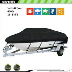 Waterproof Heavy Duty 11-13ft Boat Cover Fishing V-hull Tri-hull Runabout