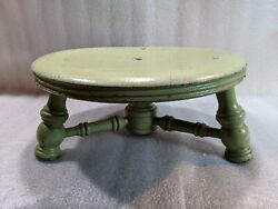 Antique Primitive Round Wood Stool, Old Green Paint, Farmhouse
