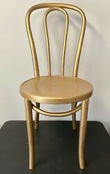 Antique Thonet Bentwood Beech Bistro Cafe Chair 18 Painted Gold Made In Poland
