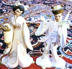 Pair Of Lovely 7 Ceramic Asian Oriental Japanese Ladies Decorative Statues