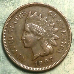 1907 Indian Head Penny Au About Uncirculated Brown 4 Diamond High Grade Store
