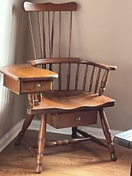 Vintage Stamped Pennsylvania House Furniture Windsor Arm Writing Chair Desk