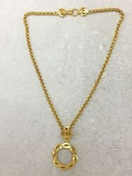 Coco Logo Loupe Pendant Chain Opera Necklace Gold Engraved 97p Vintage
