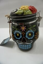 Day Of The Dead Sugar Skull Hinged Ceramic Cookie Jar Canister New