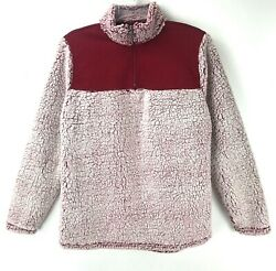 Nwt Athletic Works Pullover Jacket Sherpa Fleece 1/4 Zip Burgundy Womenand039s Small
