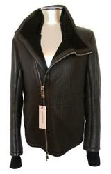 Emporio Armani Ribbed Leather Jacket Wool Lined Eu52 Large Xl Rrp £1950 Brown