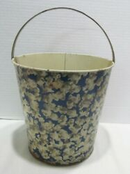 Popcorn Graphics Pattern On Vintage Tin Litho Sand Pail Bucket Container Neat