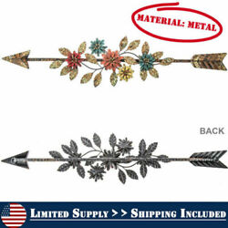 Long Wall Arrow Colored flowers Distressed Metal Accent Decor Rustic Beauty