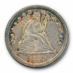 1858 25c Liberty Seated Quarter About Uncirculated To Mint State Toned 7543