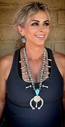 Navajo James Mccabe Sterling Silver Turquoise Coin Squash Blossom Necklace