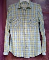 Ryan Michael women#x27;s top size M snap front plaid blouse western country $28.99