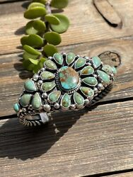 Navajo Royston Turquoise And Sterling Silver Cluster Cuff Bracelet Signed