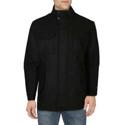 Haggar Menand039s Water Repellent Wool Double Breasted Field Coat With Notch Lapel