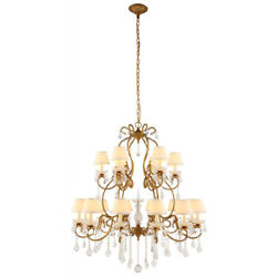Crystal Chandelier Rustic Farmhouse Golden Wrought Iron Dining Room 18 Light 47