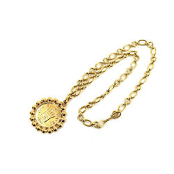 Rue Cambon Coco Logo Sign Circle Pendant Chain Necklace Gold Vintage