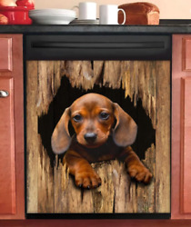 Dachshund Break The Wall Dishwasher Cover Decal, Kitchen Cover Stickers, Vinyl